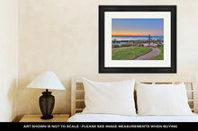 Load image into Gallery viewer, Framed Print, Christian Monument Against Ocean And Island Backdrop