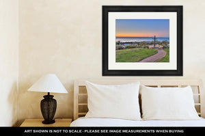 Framed Print, Christian Monument Against Ocean And Island Backdrop