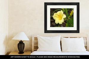 Framed Print, Yellow Day Lily With Rain Drops
