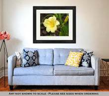Load image into Gallery viewer, Framed Print, Yellow Day Lily With Rain Drops