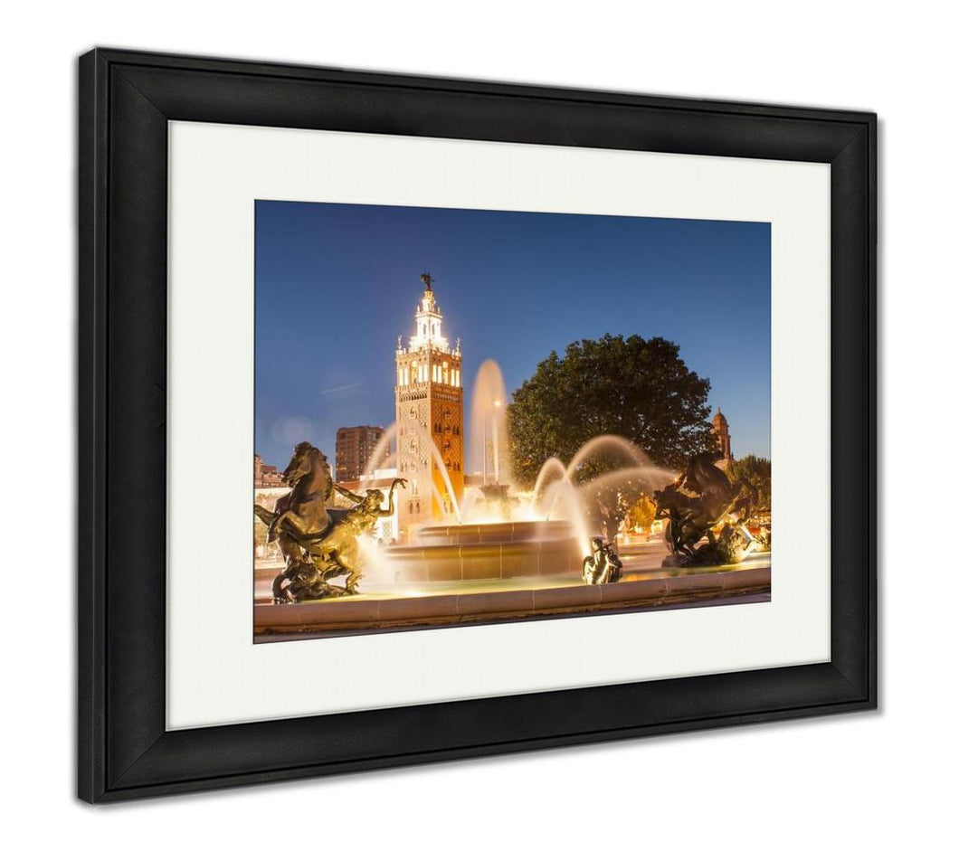 Framed Print, Kansas City Missouri Fountain At Country Club Plaza