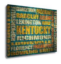 Load image into Gallery viewer, Gallery Wrapped Canvas, Kentucky State Cities List