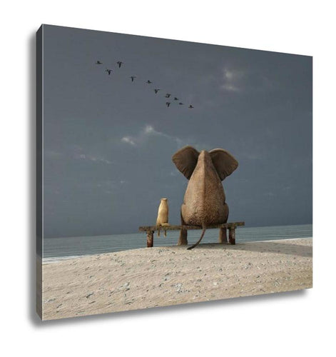 Gallery Wrapped Canvas, Elephant And Dog Sit On A Deserted Beach