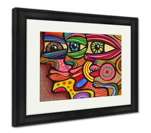 Framed Print, Abstract Diverse Faces
