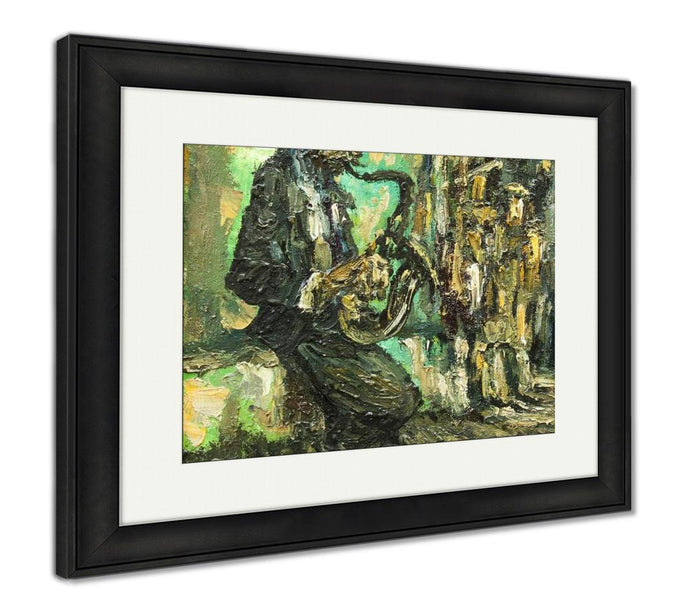 Framed Print, Street Musician Original Oil Painting On Canvas Impressionism Relief Drawing