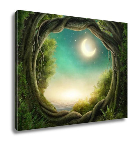 Gallery Wrapped Canvas, Enchanted Dark Forest In The Moonlight