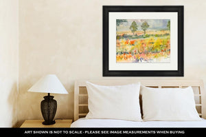 Framed Print, Watercolor Original Landscape Painting Yellow Color Of Golden Rice Field And