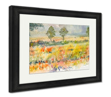 Load image into Gallery viewer, Framed Print, Watercolor Original Landscape Painting Yellow Color Of Golden Rice Field And