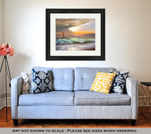 Load image into Gallery viewer, Framed Print, Oil Painting On Canvas Sailboat Against A Of Sea Sunset