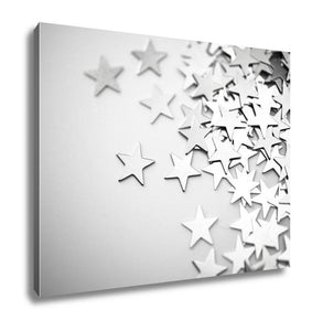 Gallery Wrapped Canvas, Silver Stars Spilling Out On White Surface Intentionally Shot In Surreal Tone