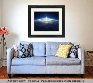Framed Print, Near Space Photography 20km Above Ground Real Photo
