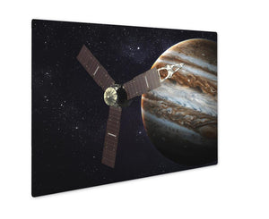 Metal Panel Print, Juno Spacecraft And Jupiter Elements Of This Image Furnished By Nasa