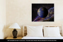 Load image into Gallery viewer, Gallery Wrapped Canvas, Solar System Planet Mercury On Nebula 3d Rendering