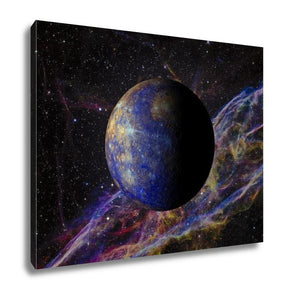 Gallery Wrapped Canvas, Solar System Planet Mercury On Nebula 3d Rendering
