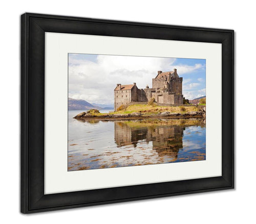 Framed Print, Closeup Of Reflection Of Eilean Donan Castle Highland Scotland Sky Tourism