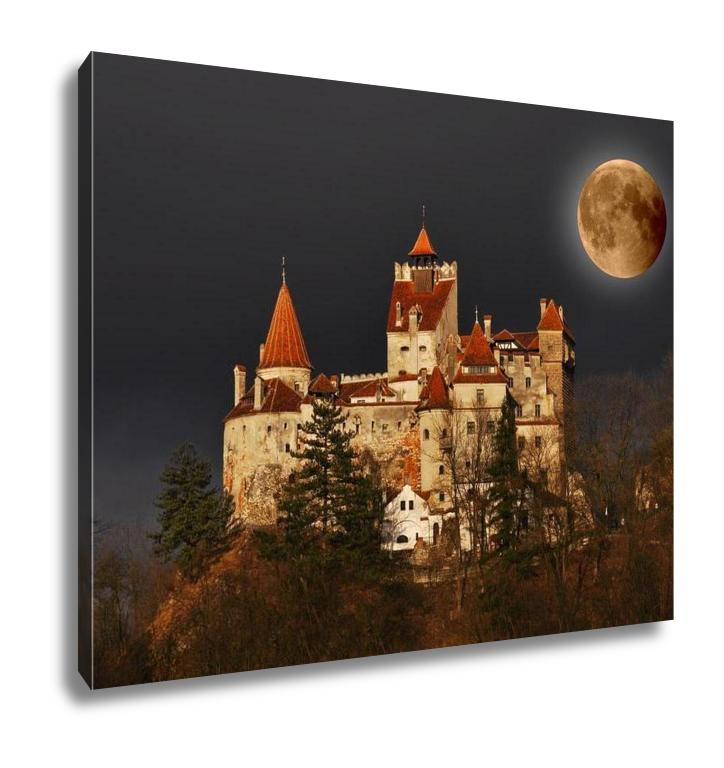 Gallery Wrapped Canvas, Bran Castle Count Draculas Castle On Full Moon Transylvania Romania