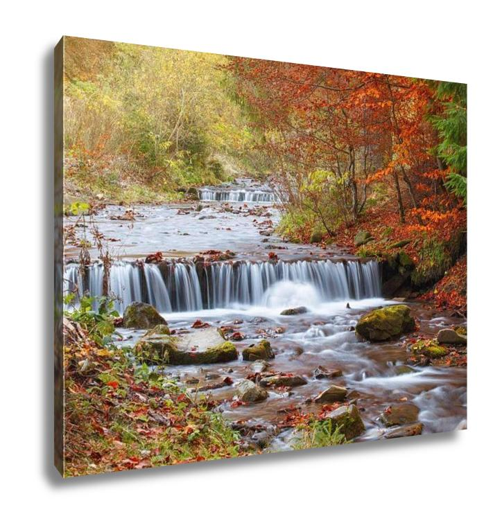 Gallery Wrapped Canvas, Waterfall In Autumn Forest Beautiful Nature