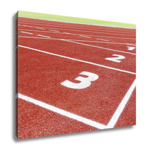 Load image into Gallery viewer, Gallery Wrapped Canvas, The Beginning Of The Athletics Track With Three Numbers
