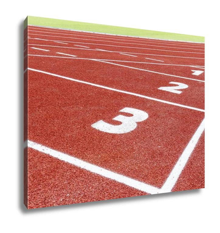 Gallery Wrapped Canvas, The Beginning Of The Athletics Track With Three Numbers