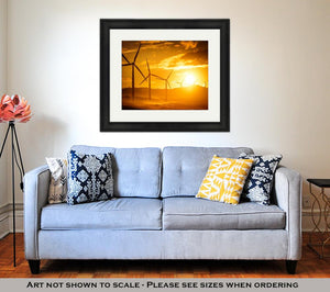 Framed Print, Wind Turbine Power Generators Silhouettes At Ocean Coastline At Sunset