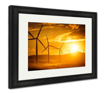 Load image into Gallery viewer, Framed Print, Wind Turbine Power Generators Silhouettes At Ocean Coastline At Sunset