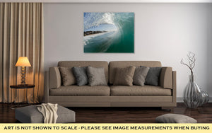 Gallery Wrapped Canvas, Ocean Wave Blue Hollow