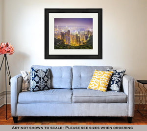 Framed Print, Hong Kong China City Skyline From The Peak