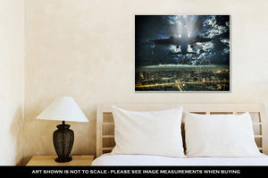 Gallery Wrapped Canvas, Airplane Passing Over Bangkok Bangkok Cityscape Business District Bangkok