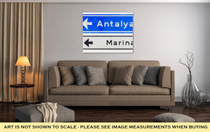 Gallery Wrapped Canvas, Road Sign Antalya Marina Isolated