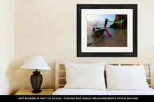 Load image into Gallery viewer, Framed Print, Boat Thai In The Beautiful Miracle Beach Crystal Clear Water At Krabi Thaiand