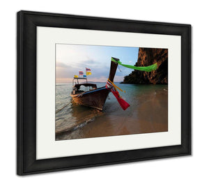 Framed Print, Boat Thai In The Beautiful Miracle Beach Crystal Clear Water At Krabi Thaiand