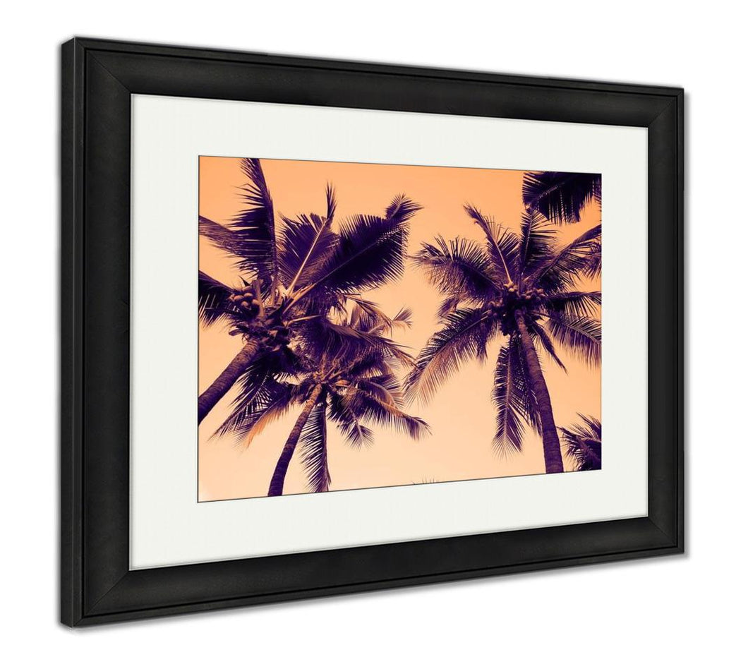 Framed Print, Silhouette Palm Tree With Vintage Filter