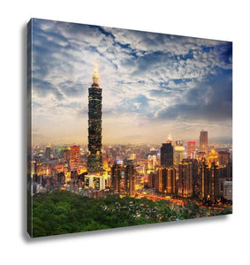 Gallery Wrapped Canvas, Taipei Taiwan Evening Skyline