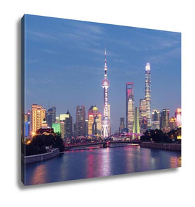 Gallery Wrapped Canvas, Shanghai Skyline At Night