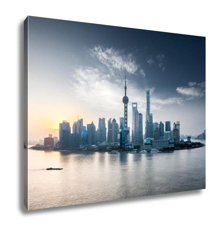 Gallery Wrapped Canvas, Sunrise Scene In Shanghai
