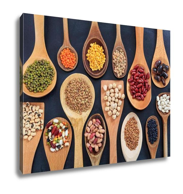 Gallery Wrapped Canvas, Various Legumes In Wooden Spoons