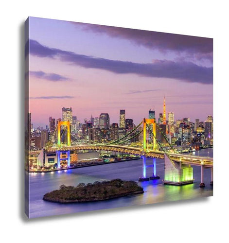 Gallery Wrapped Canvas, Tokyo Japan Skyline With Rainbow Bridge And Tokyo Tower