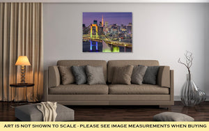 Gallery Wrapped Canvas, Tokyo Japan Cityscape At Rainbow Bridge And Tokyo Tower