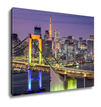 Load image into Gallery viewer, Gallery Wrapped Canvas, Tokyo Japan Cityscape At Rainbow Bridge And Tokyo Tower