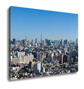 Gallery Wrapped Canvas, Blue Sky Panoramic View Over Downtown Tokyo