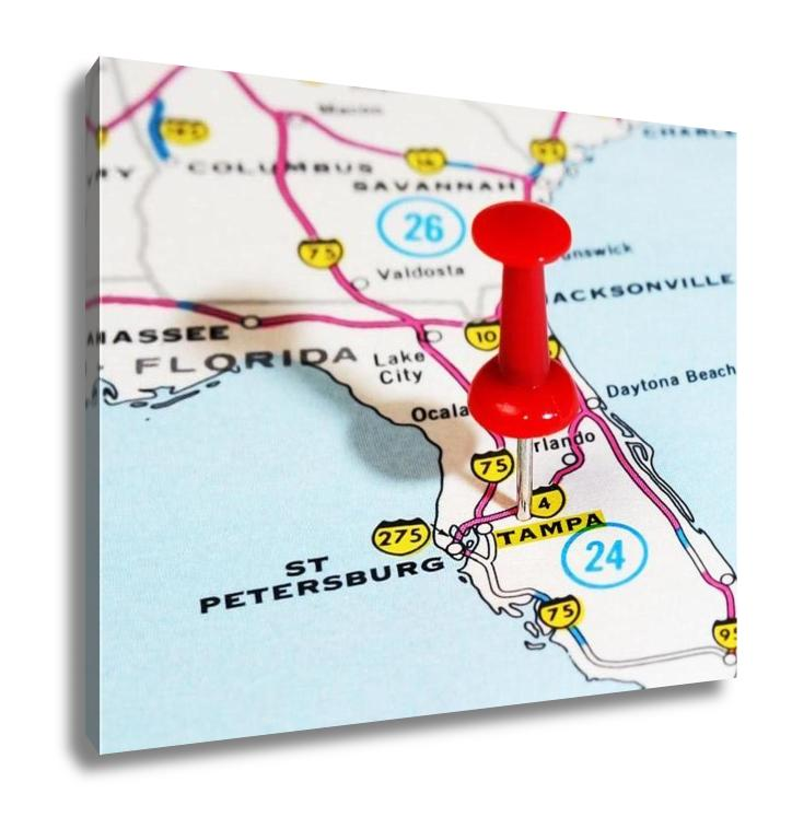 Gallery Wrapped Canvas, Tampa Florida USA Map