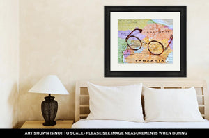 Framed Print, Glasses On Map Nairobi