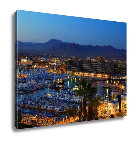 Gallery Wrapped Canvas, Los Cabos Cabo San Lucas Mexico Night View Of City And Marina