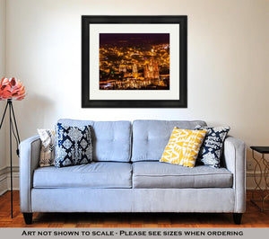 Framed Print, San Miguel De Allende Mexico Miramar Overlook Night Parroquia Archangel Church