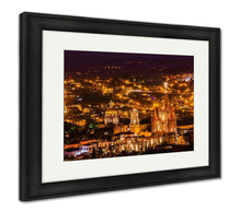 Load image into Gallery viewer, Framed Print, San Miguel De Allende Mexico Miramar Overlook Night Parroquia Archangel Church