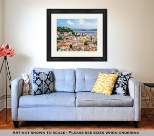 Framed Print, Lisbon Portugal Skyline At Sao Jorge Castle In The Day