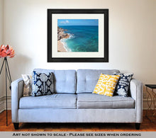 Load image into Gallery viewer, Framed Print, Small Mexican Island Named Isla Mujeres At The Acantilado Del Amanecer Cliffs