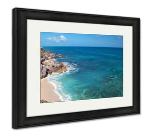 Framed Print, Small Mexican Island Named Isla Mujeres At The Acantilado Del Amanecer Cliffs