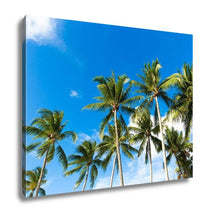 Load image into Gallery viewer, Gallery Wrapped Canvas, Tropical Palm Trees In The Blue Sunny Sky