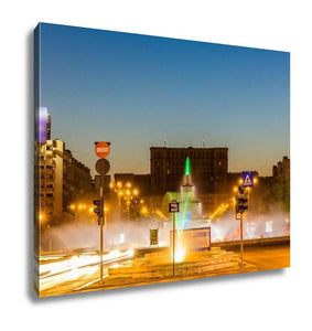 Gallery Wrapped Canvas, Fountain In Unirii Square Bucharest Romania